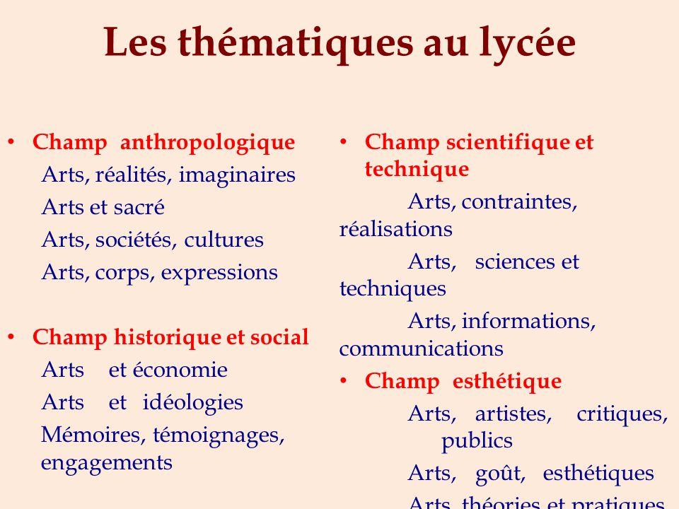 Les thématiques au collège Arts, créations, cultures Arts, espace, temps Arts, états et pouvoir Arts, mythes et religion Arts, techniques, expressions