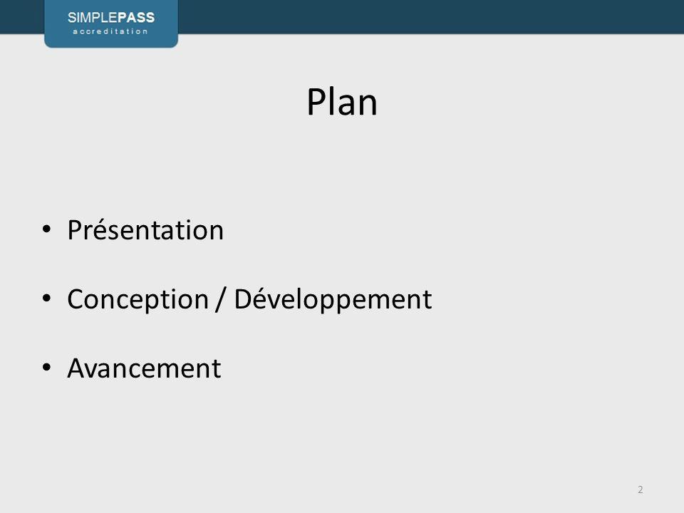 Plan Présentation Conception / Développement Avancement 3