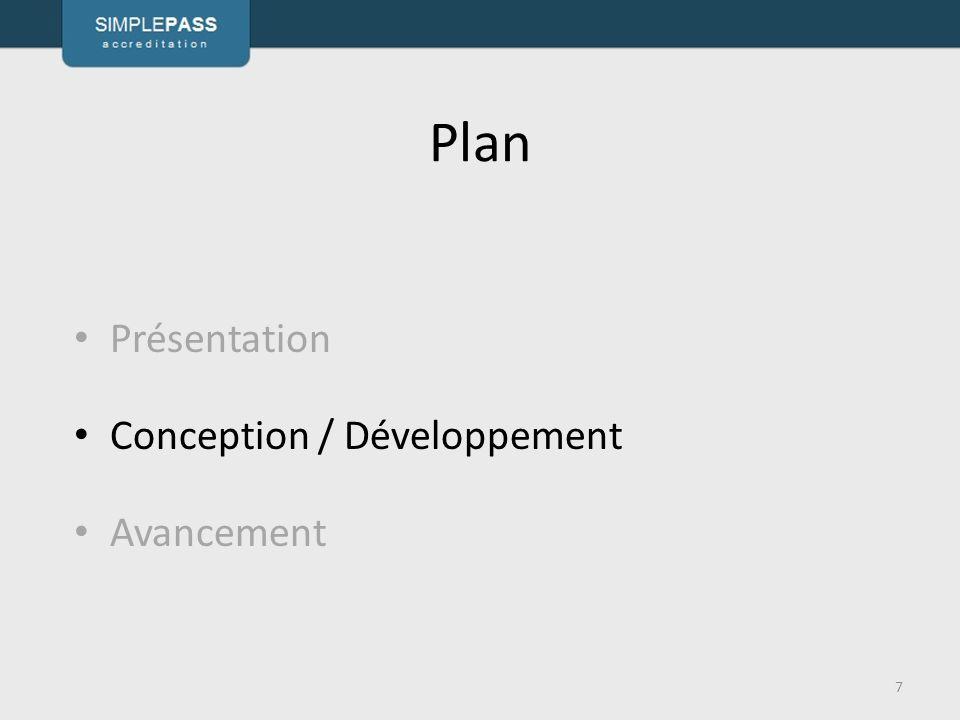 Plan 7 Présentation Conception / Développement Avancement
