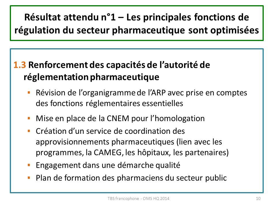 1.3 Renforcement des capacités de lautorité de réglementation pharmaceutique Révision de lorganigramme de lARP avec prise en comptes des fonctions rég