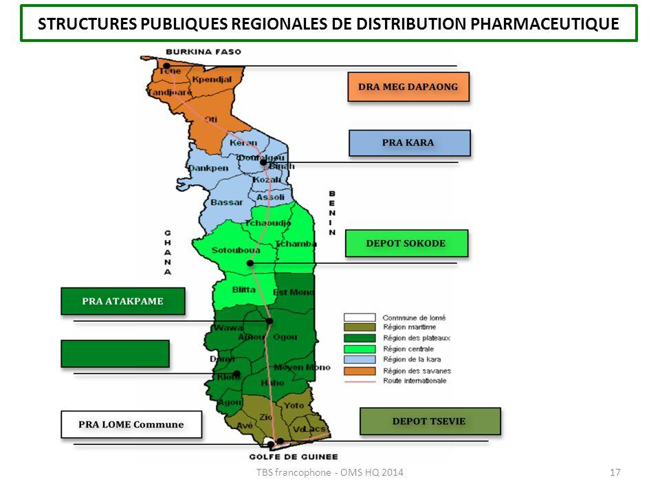 STRUCTURES PUBLIQUES REGIONALES DE DISTRIBUTION PHARMACEUTIQUE 17TBS francophone - OMS HQ 2014