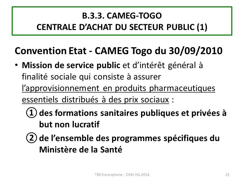 B.3.3. CAMEG-TOGO CENTRALE DACHAT DU SECTEUR PUBLIC (1) Convention Etat - CAMEG Togo du 30/09/2010 Mission de service public et dintérêt général à fin