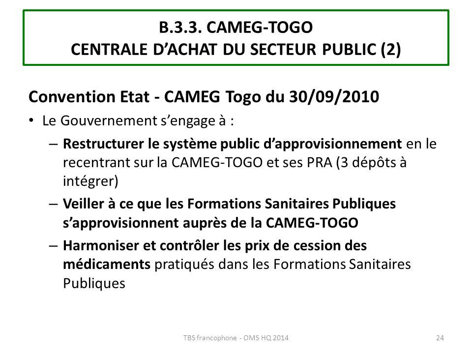 Convention Etat - CAMEG Togo du 30/09/2010 Le Gouvernement sengage à : – Restructurer le système public dapprovisionnement en le recentrant sur la CAM