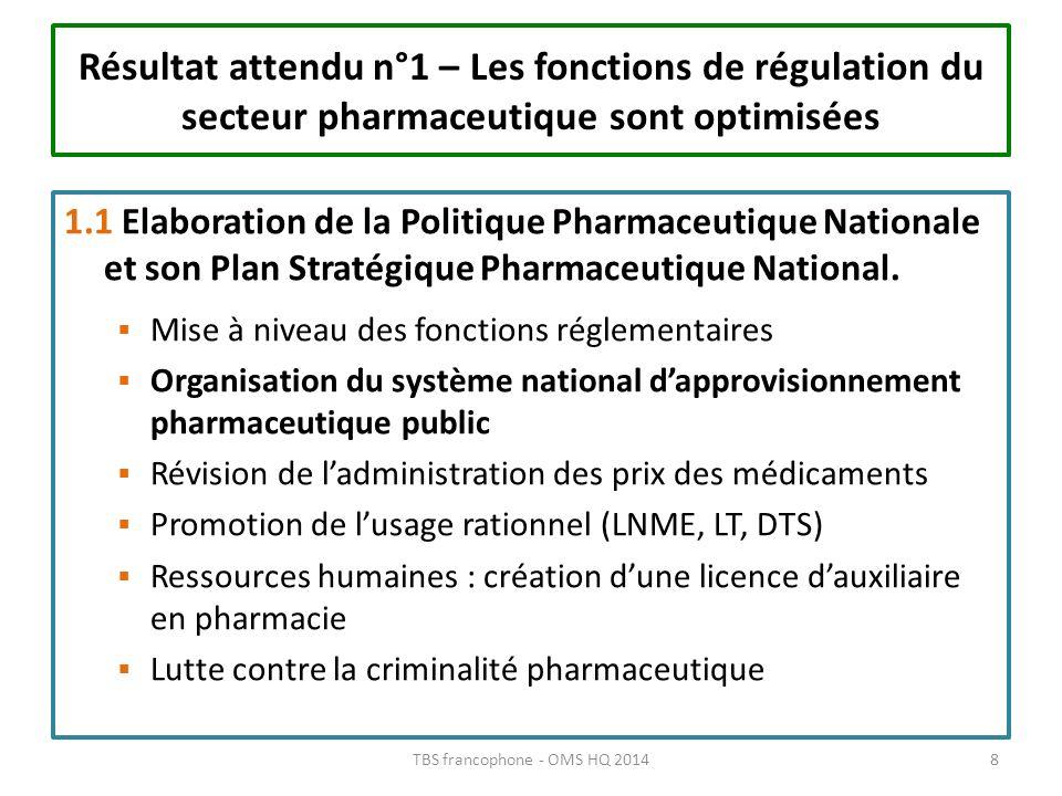 Résultat attendu n°1 – Les fonctions de régulation du secteur pharmaceutique sont optimisées 1.1 Elaboration de la Politique Pharmaceutique Nationale