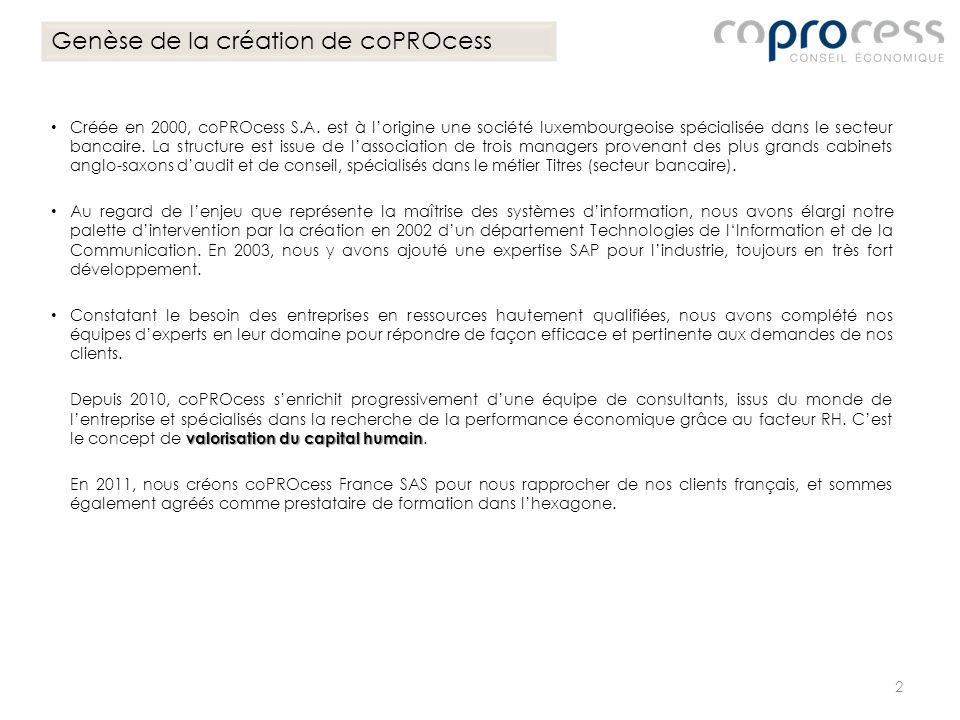 Créée en 2000, coPROcess S.A. est à lorigine une société luxembourgeoise spécialisée dans le secteur bancaire. La structure est issue de lassociation