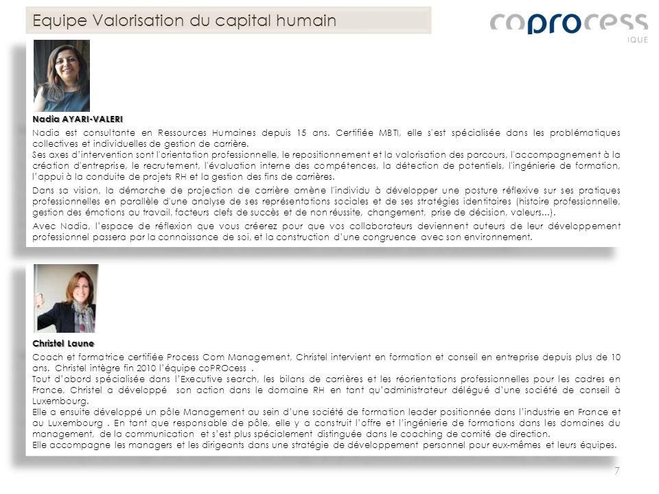 Equipe Valorisation du capital humain Christel Laune Coach et formatrice certifiée Process Com Management, Christel intervient en formation et conseil