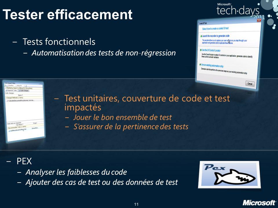 11 Tester efficacement Tests fonctionnels Automatisation des tests de non-régression PEX Analyser les faiblesses du code Ajouter des cas de test ou des données de test