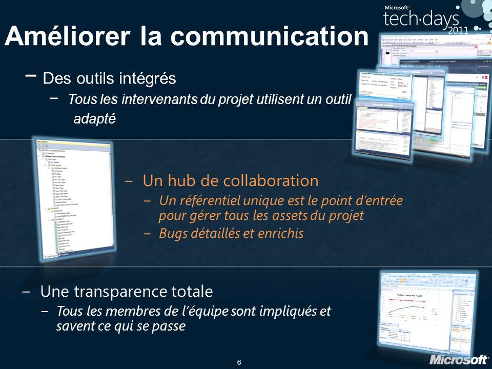 6 Améliorer la communication Une transparence totale Tous les membres de léquipe sont impliqués et savent ce qui se passe Des outils intégrés Tous les intervenants du projet utilisent un outil adapté