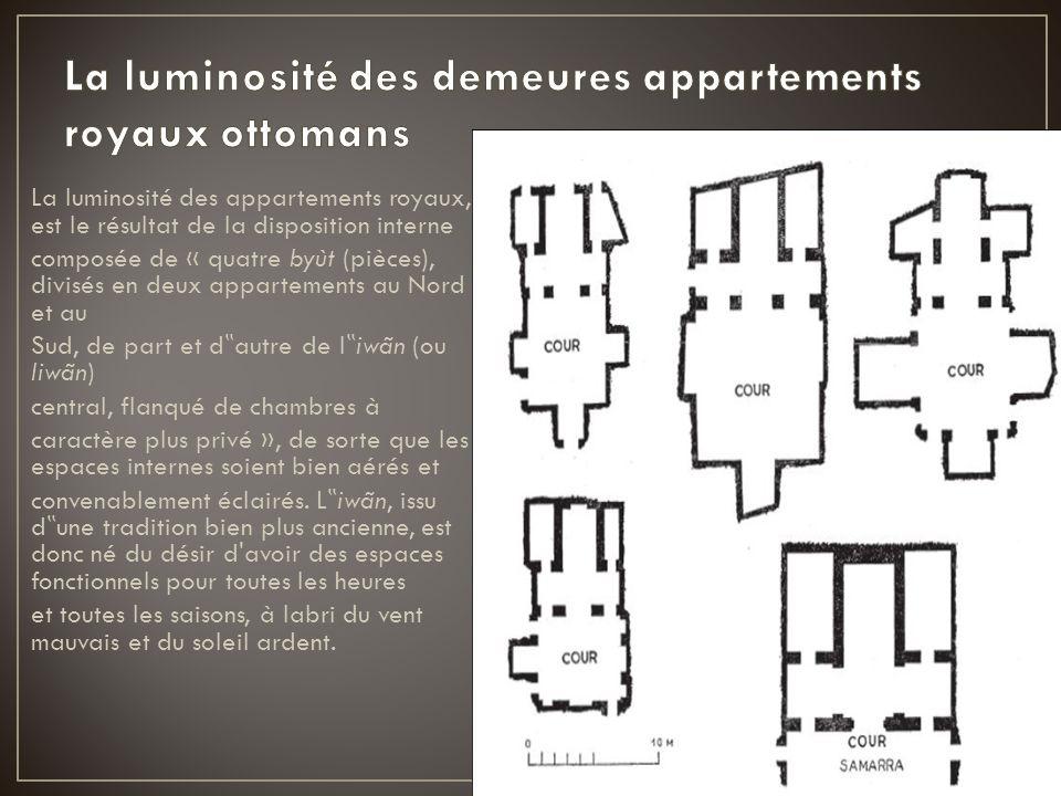 La luminosité des appartements royaux, est le résultat de la disposition interne composée de « quatre byùt (pièces), divisés en deux appartements au N