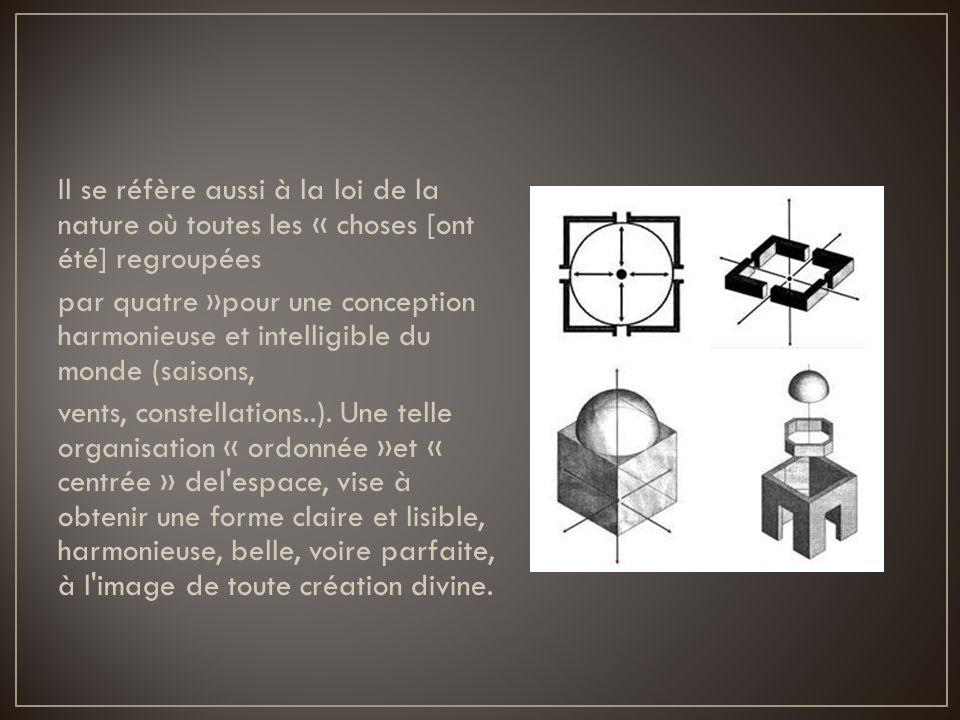 Il se réfère aussi à la loi de la nature où toutes les « choses [ont été] regroupées par quatre »pour une conception harmonieuse et intelligible du mo