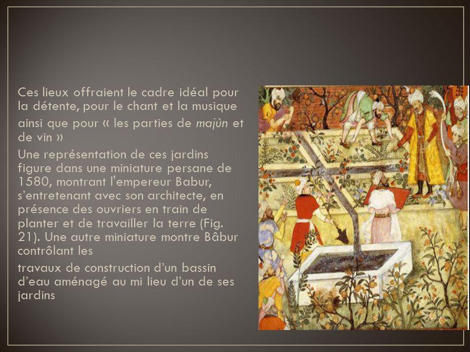 Ces lieux offraient le cadre idéal pour la détente, pour le chant et la musique ainsi que pour « les parties de majùn et de vin » Une représentation d