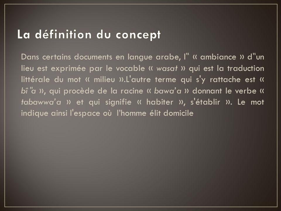 Dans certains documents en langue arabe, l « ambiance » d un lieu est exprimée par le vocable « wasat » qui est la traduction littérale du mot « milie