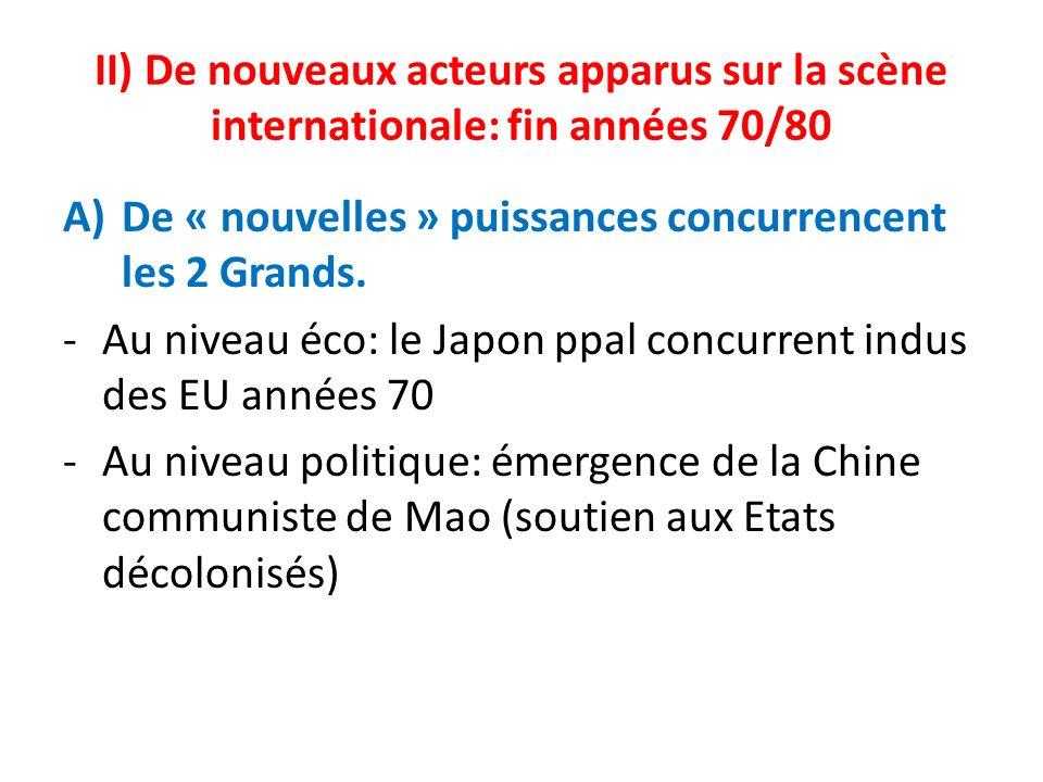 II) De nouveaux acteurs apparus sur la scène internationale: fin années 70/80 A)De « nouvelles » puissances concurrencent les 2 Grands. -Au niveau éco