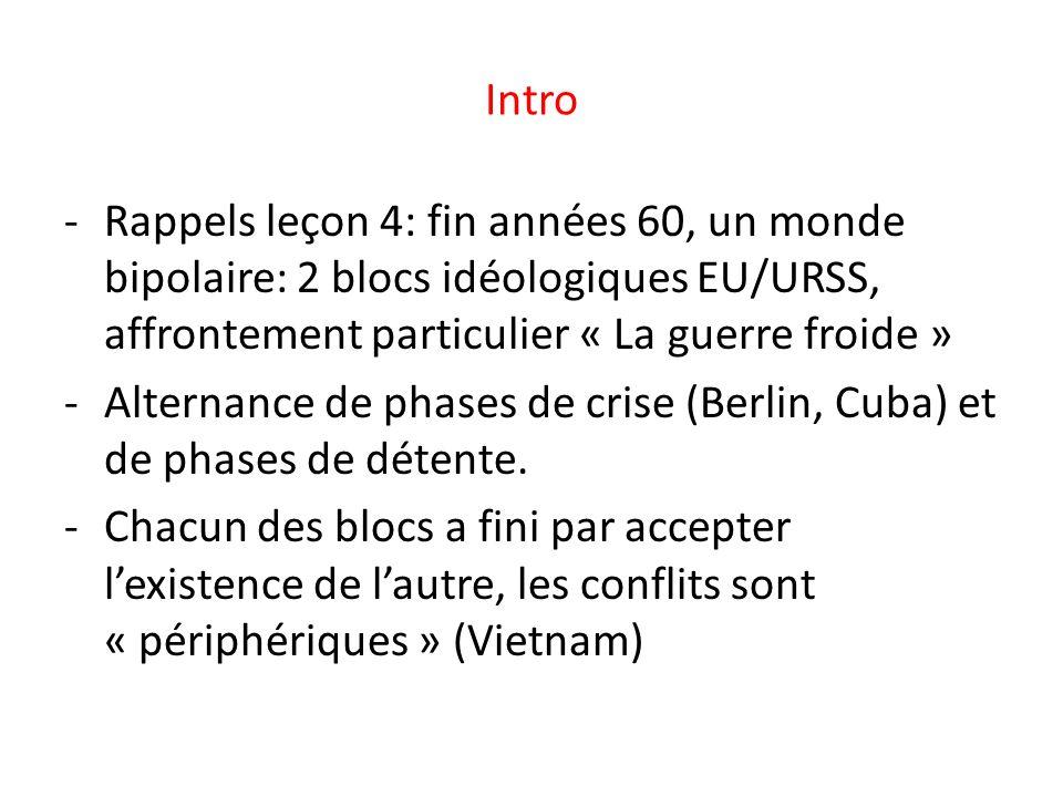 Intro -Rappels leçon 4: fin années 60, un monde bipolaire: 2 blocs idéologiques EU/URSS, affrontement particulier « La guerre froide » -Alternance de