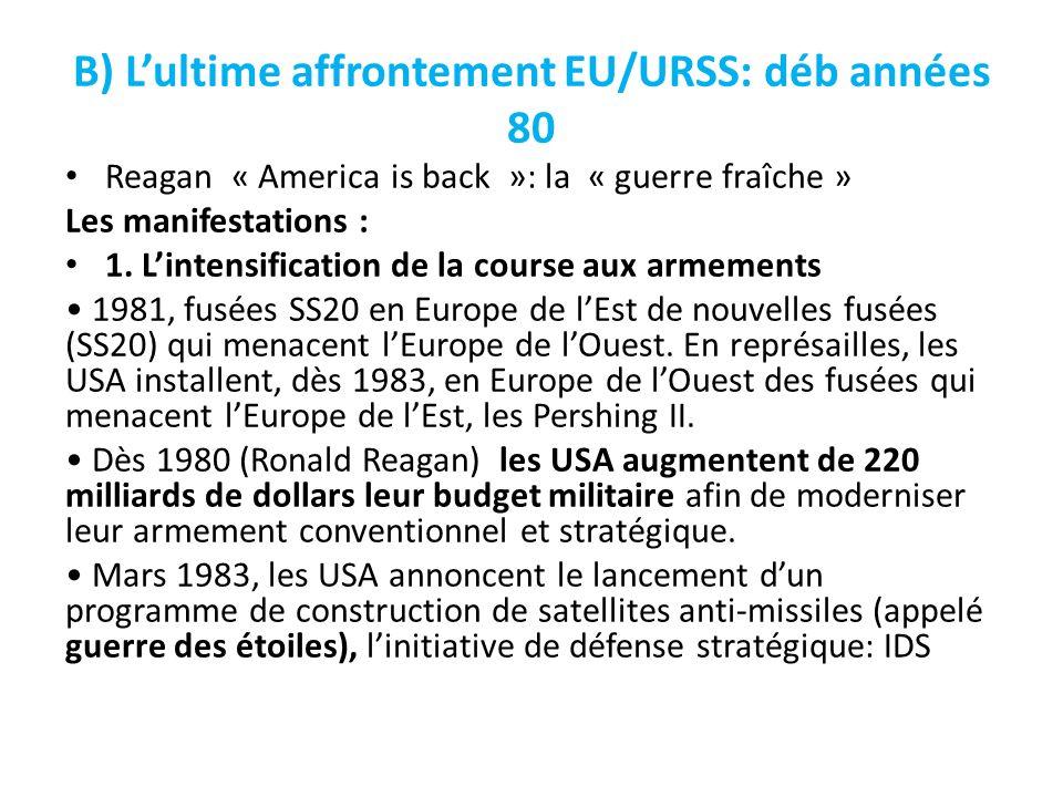 B) Lultime affrontement EU/URSS: déb années 80 Reagan « America is back »: la « guerre fraîche » Les manifestations : 1. Lintensification de la course