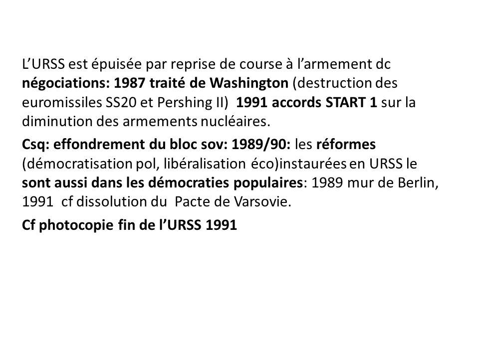LURSS est épuisée par reprise de course à larmement dc négociations: 1987 traité de Washington (destruction des euromissiles SS20 et Pershing II) 1991