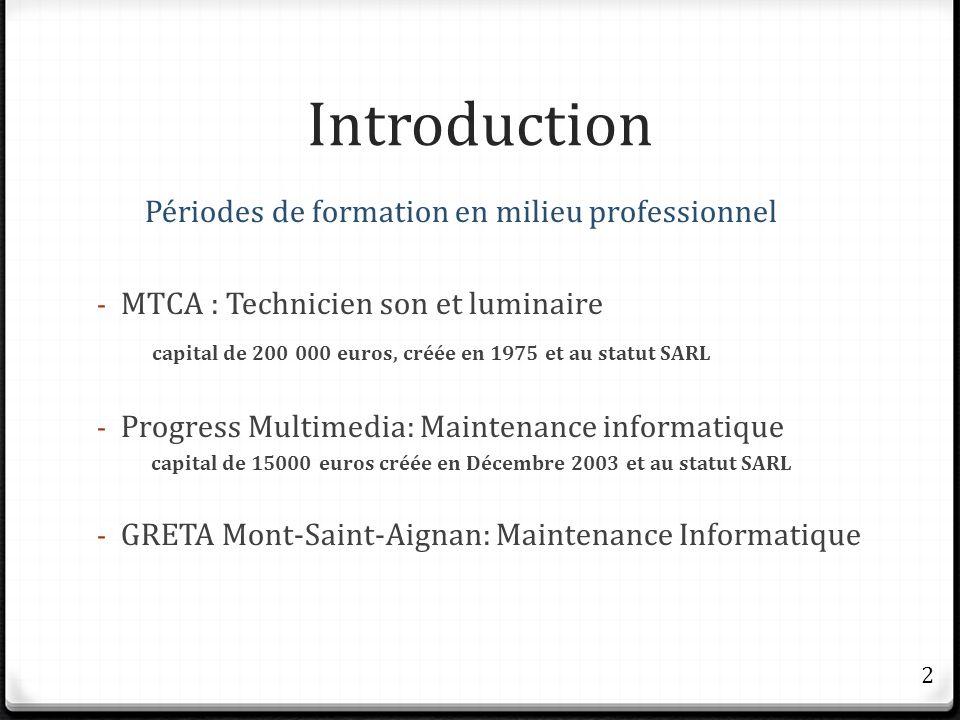 Introduction Périodes de formation en milieu professionnel - MTCA : Technicien son et luminaire capital de 200 000 euros, créée en 1975 et au statut S