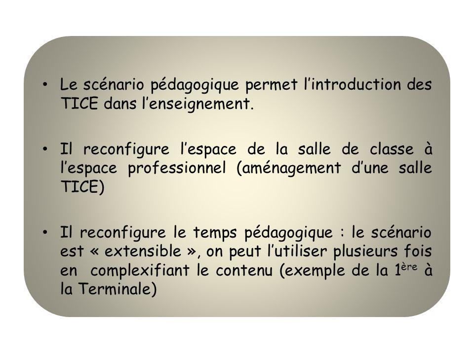 Le scénario pédagogique permet lintroduction des TICE dans lenseignement. Il reconfigure lespace de la salle de classe à lespace professionnel (aménag