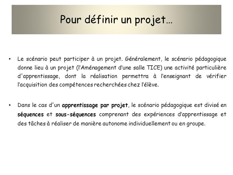 Pour définir un projet… Le scénario peut participer à un projet. Généralement, le scénario pédagogique donne lieu à un projet (lAménagement dune salle