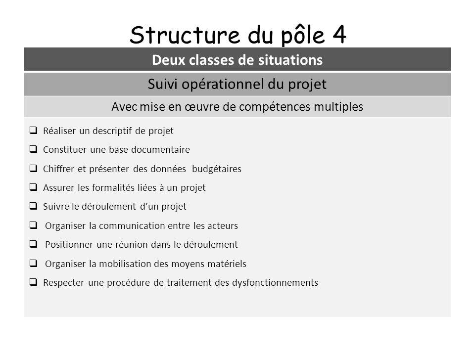 Structure du pôle 4 Deux classes de situations Suivi opérationnel du projet Avec mise en œuvre de compétences multiples Réaliser un descriptif de proj