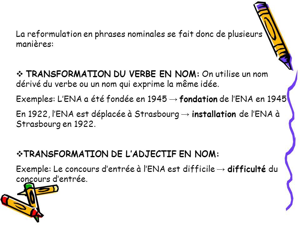La reformulation en phrases nominales se fait donc de plusieurs manières: TRANSFORMATION DU VERBE EN NOM: On utilise un nom dérivé du verbe ou un nom