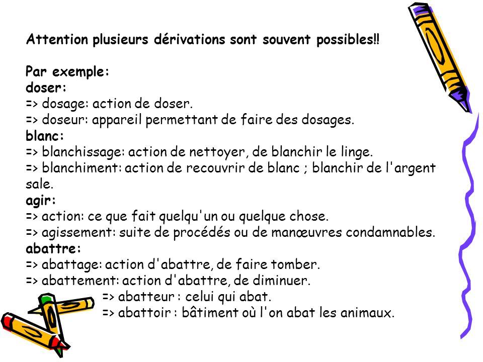 Attention plusieurs dérivations sont souvent possibles!! Par exemple: doser: => dosage: action de doser. => doseur: appareil permettant de faire des d