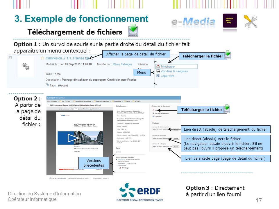 Direction du Système dInformation Opérateur Informatique 3. Exemple de fonctionnement 17 Téléchargement de fichiers Afficher la page de détail du fich