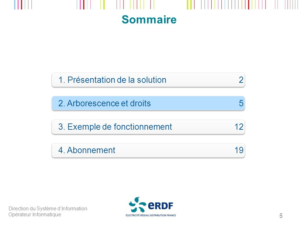 Direction du Système dInformation Opérateur Informatique 5 Sommaire 1. Présentation de la solution 2 2. Arborescence et droits 5 3. Exemple de fonctio