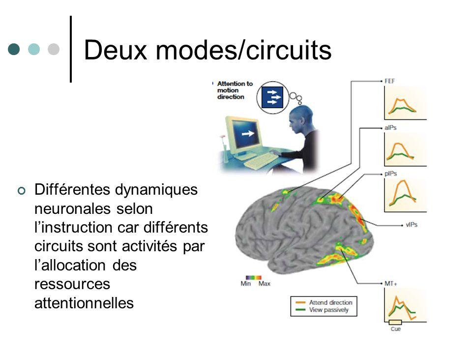 Deux modes/circuits Différentes dynamiques neuronales selon linstruction car différents circuits sont activités par lallocation des ressources attenti