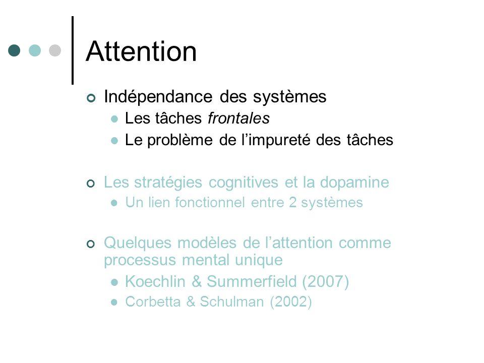 Attention Indépendance des systèmes Les tâches frontales Le problème de limpureté des tâches Les stratégies cognitives et la dopamine Un lien fonction