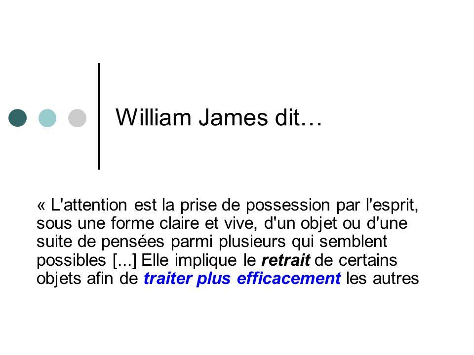 William James dit… « L attention est la prise de possession par l esprit, sous une forme claire et vive, d un objet ou d une suite de pensées parmi plusieurs qui semblent possibles [...] Elle implique le retrait de certains objets afin de traiter plus efficacement les autres