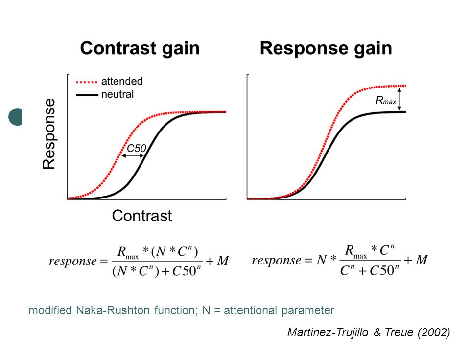 modified Naka-Rushton function; N = attentional parameter Martinez-Trujillo & Treue (2002)