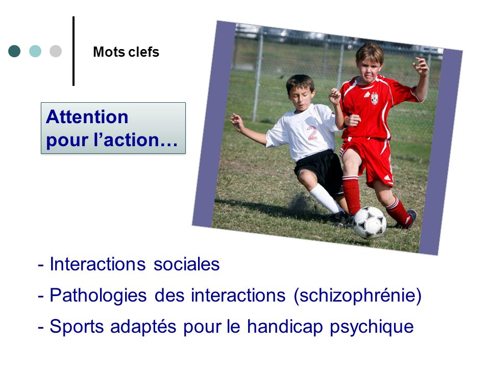 Mots clefs - Interactions sociales - Pathologies des interactions (schizophrénie) - Sports adaptés pour le handicap psychique Attention pour laction…