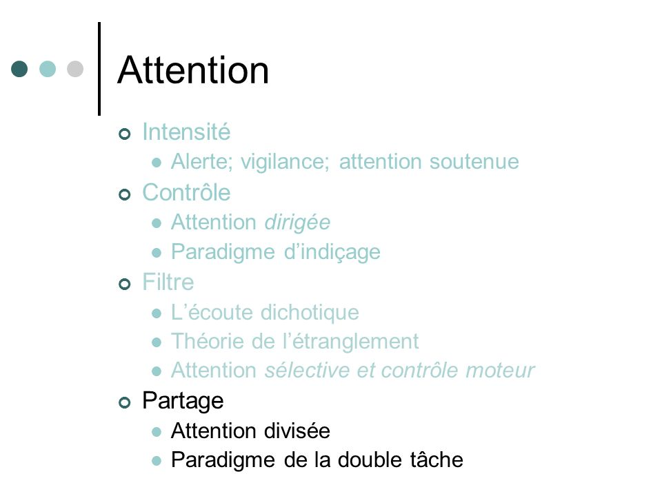 Attention Intensité Alerte; vigilance; attention soutenue Contrôle Attention dirigée Paradigme dindiçage Filtre Lécoute dichotique Théorie de létrangl