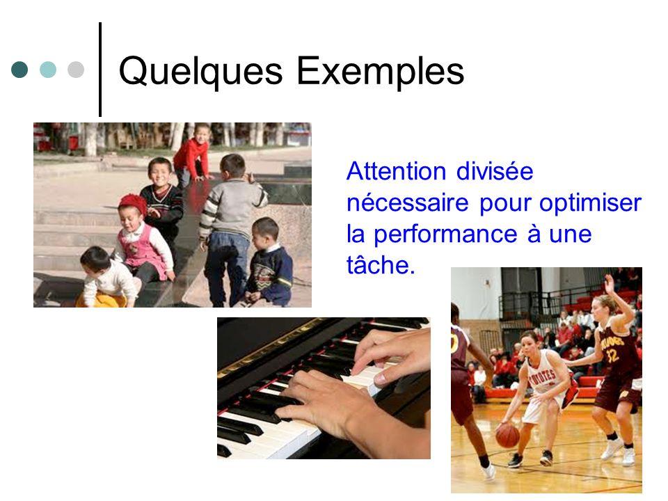 Quelques Exemples Attention divisée nécessaire pour optimiser la performance à une tâche.