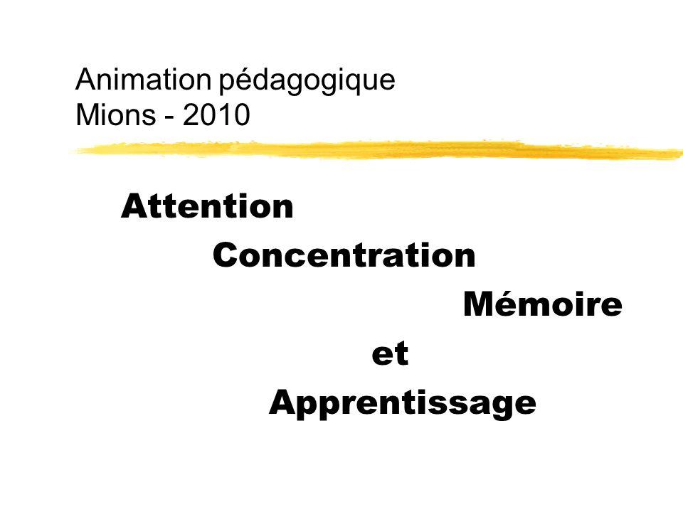 Un modèle zRéception Inhibition Traitement Stockage de linformation zAttention Concentration Mémoire