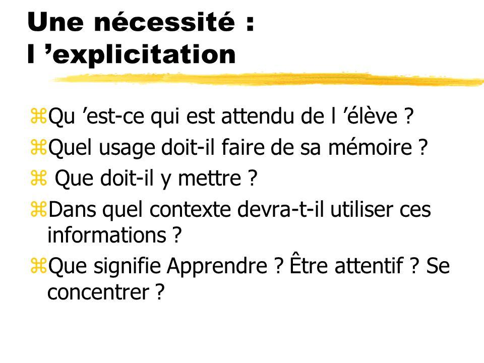 Une nécessité : l explicitation zQu est-ce qui est attendu de l élève ? zQuel usage doit-il faire de sa mémoire ? z Que doit-il y mettre ? zDans quel