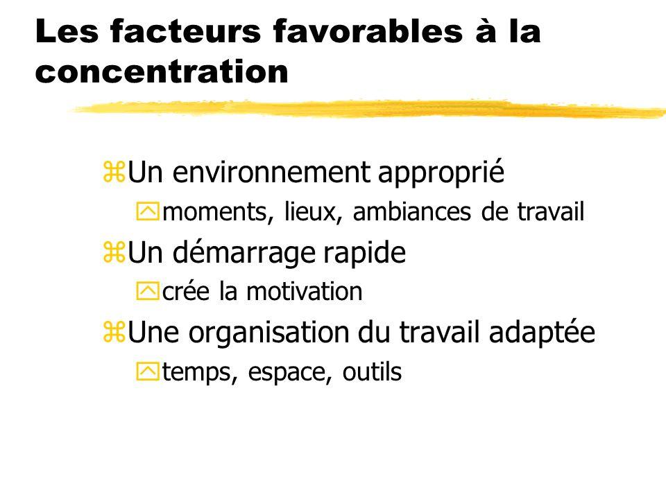 Les facteurs favorables à la concentration zUn environnement approprié ymoments, lieux, ambiances de travail zUn démarrage rapide ycrée la motivation