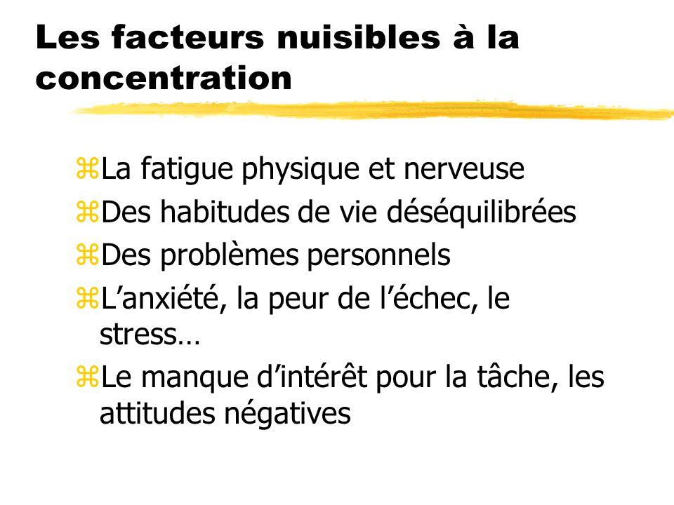 Les facteurs nuisibles à la concentration zLa fatigue physique et nerveuse zDes habitudes de vie déséquilibrées zDes problèmes personnels zLanxiété, l