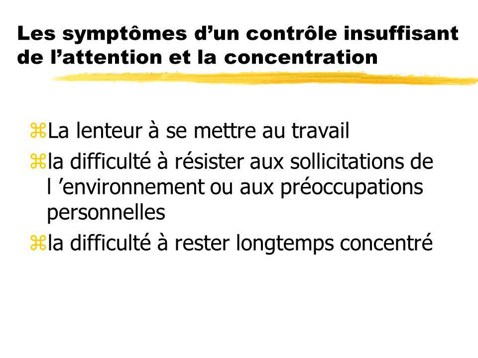 Les symptômes dun contrôle insuffisant de lattention et la concentration zLa lenteur à se mettre au travail zla difficulté à résister aux sollicitatio