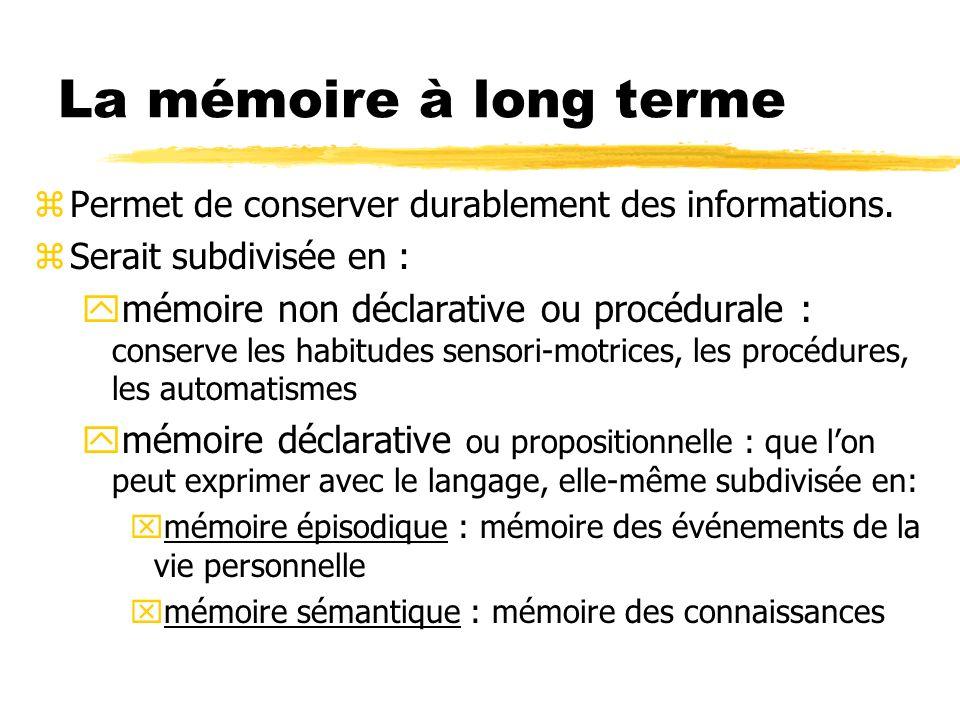 La mémoire à long terme zPermet de conserver durablement des informations. zSerait subdivisée en : ymémoire non déclarative ou procédurale : conserve