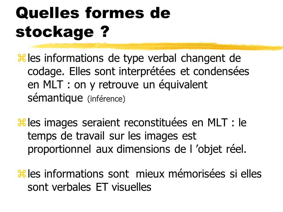 Quelles formes de stockage ? zles informations de type verbal changent de codage. Elles sont interprétées et condensées en MLT : on y retrouve un équi