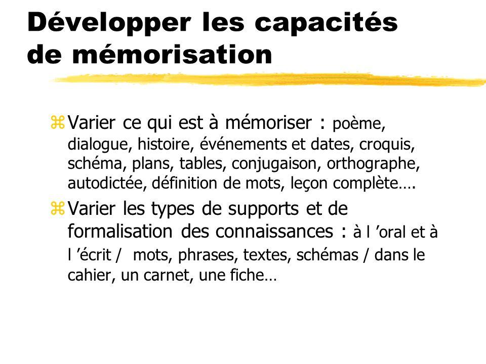 Développer les capacités de mémorisation zVarier ce qui est à mémoriser : poème, dialogue, histoire, événements et dates, croquis, schéma, plans, tabl