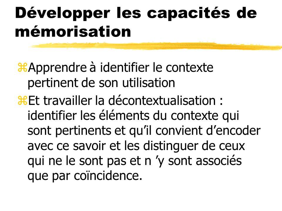 Développer les capacités de mémorisation zApprendre à identifier le contexte pertinent de son utilisation zEt travailler la décontextualisation : iden