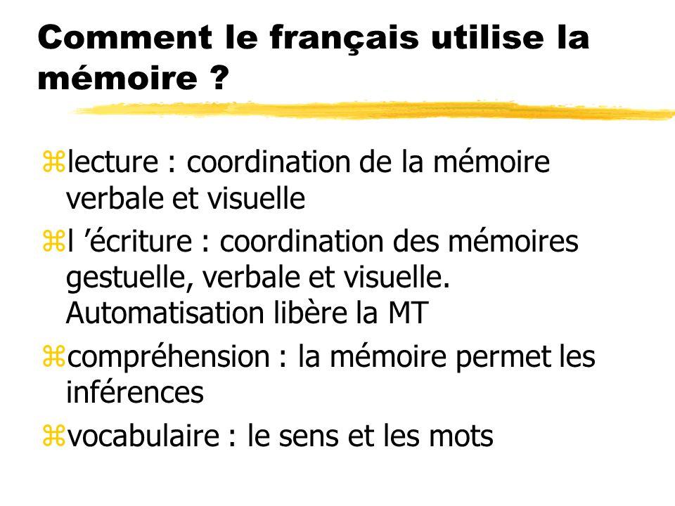 Comment le français utilise la mémoire ? zlecture : coordination de la mémoire verbale et visuelle zl écriture : coordination des mémoires gestuelle,