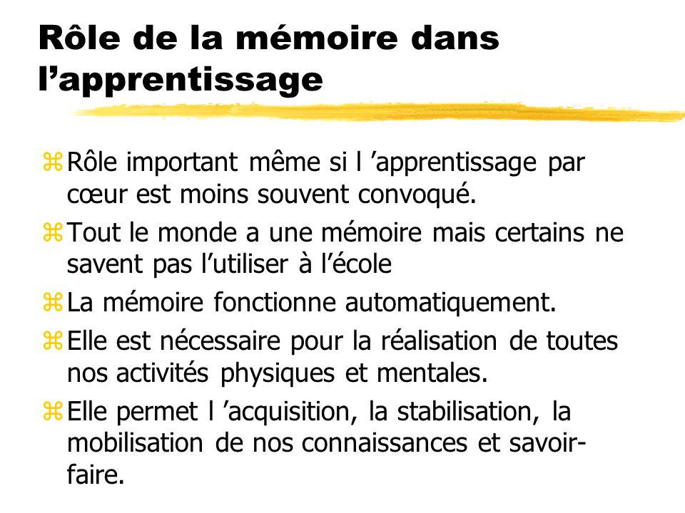 Rôle de la mémoire dans lapprentissage zElle est nécessaire à la compréhension zComprendre c est établir une relation entre une nouvelle expérience et ce que l on sait déjà.