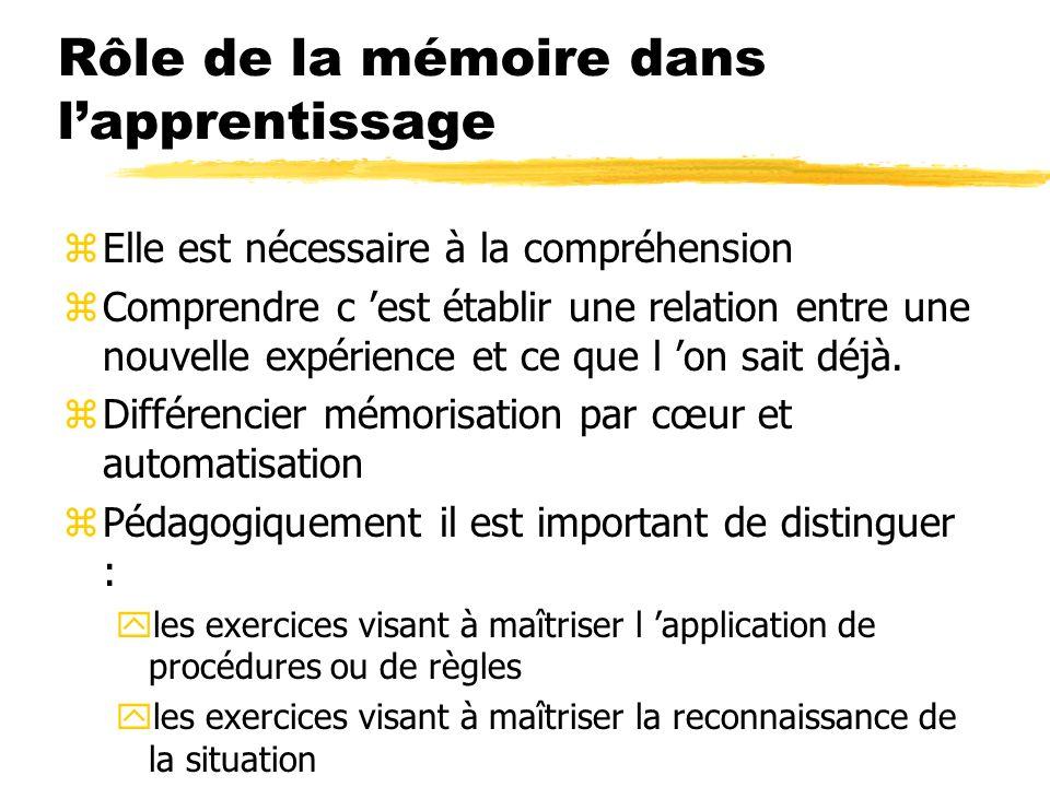 Rôle de la mémoire dans lapprentissage zElle est nécessaire à la compréhension zComprendre c est établir une relation entre une nouvelle expérience et