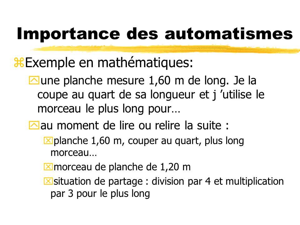 Importance des automatismes z2types : yautomatisme de reconnaissance des situations yautomatisme de calcul zlabsence dautomatisme => yperd le fil : et on dit manque de méthode yla MT ne peut pas accéder au raisonnement de haut niveau : et on dit manque dintelligence