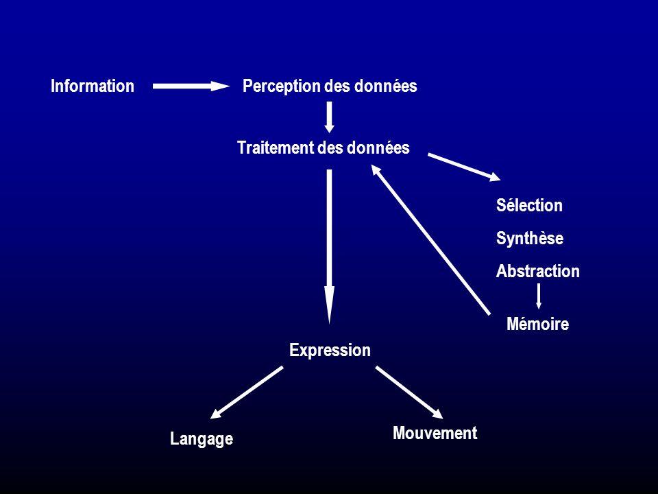 InformationPerception des données Traitement des données Sélection Synthèse Abstraction Mémoire Expression Langage Mouvement