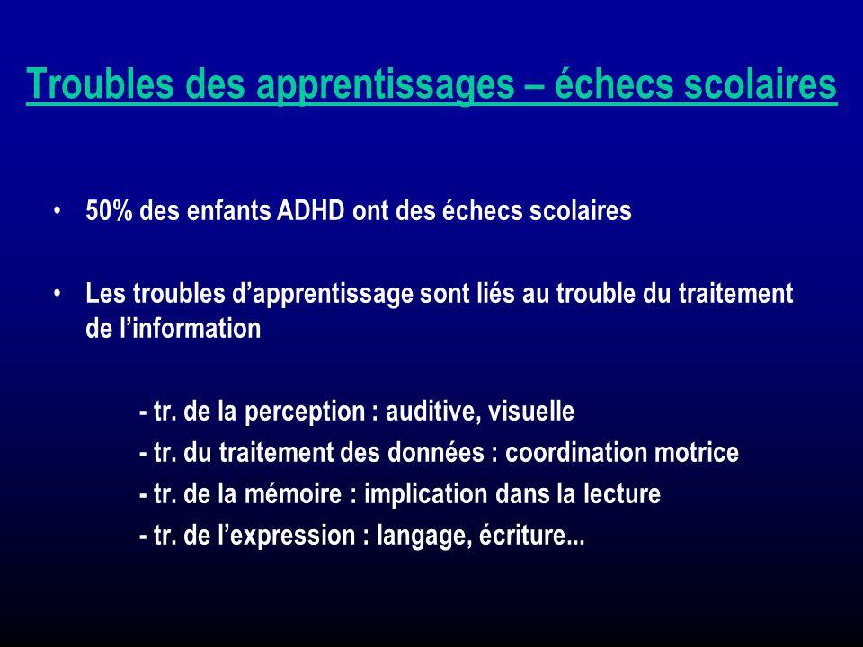 Troubles des apprentissages – échecs scolaires 50% des enfants ADHD ont des échecs scolaires Les troubles dapprentissage sont liés au trouble du trait